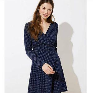 LOFT NWT Wrap Dress Polka Dots Navy Blue size 0